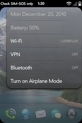 webOS status bar settings